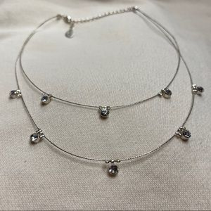 Double layer cubic zirconia necklace